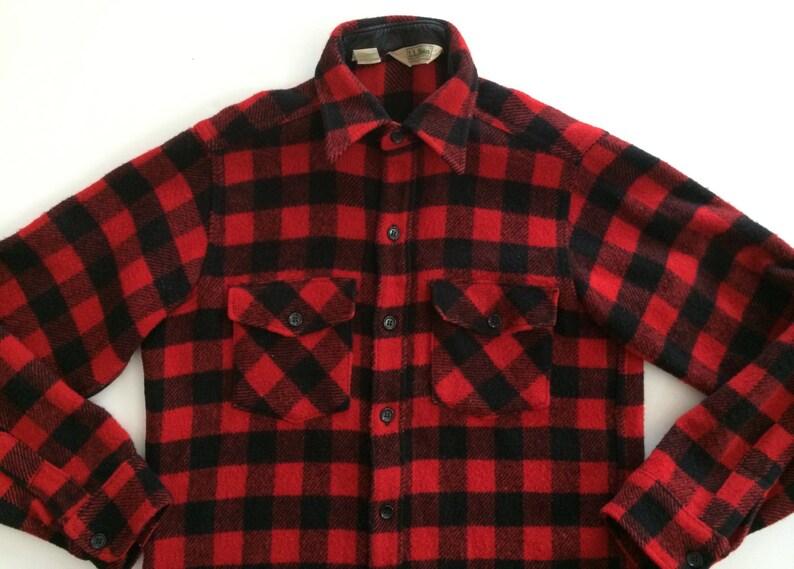 32b7d1953d21d LL Bean Wool Shirt Red Black Check Buffalo Plaid Coat LL | Etsy