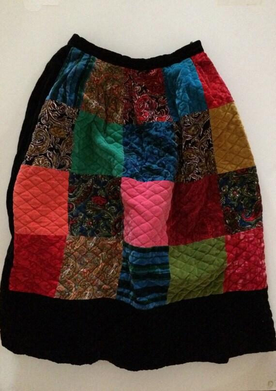 Patchwork Quilt Skirt - Velvet! - Stunning Quilte… - image 2