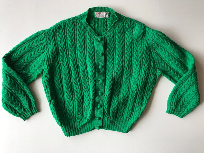 d478b3bc9 Irish Fisherman Sweater Kelly Green Hand Knit in England