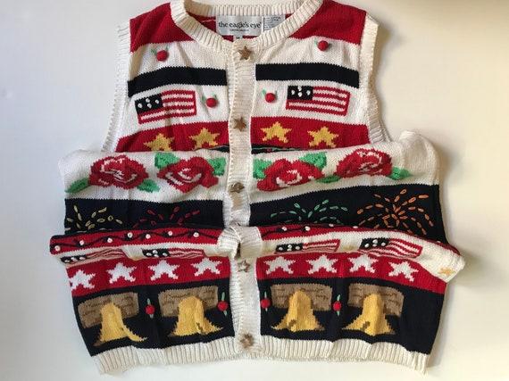 USA Sweater Vest- Love! - Stars Bells Fireworks Fl