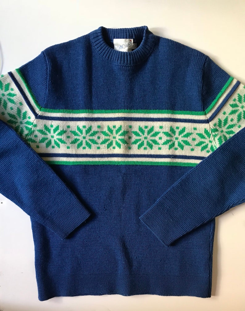 3484e389bd7e86 Vintage Ski Sweater So Cool Royal Blue w KellyGreen