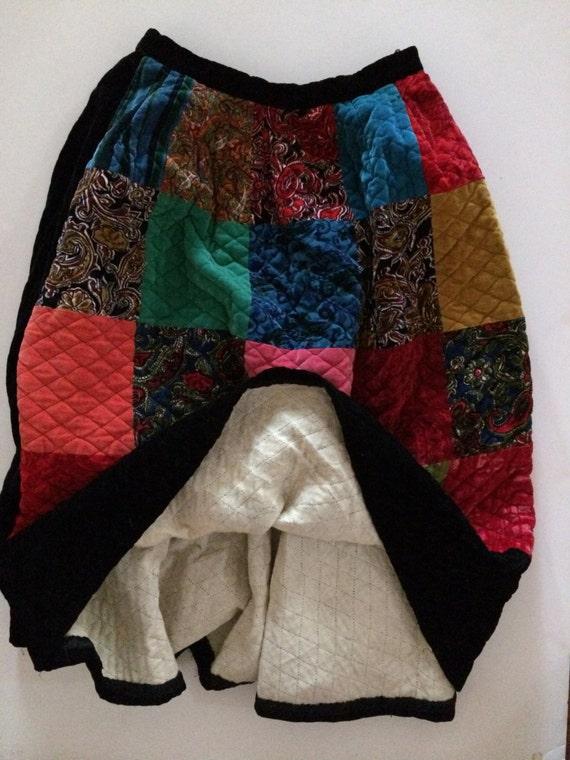 Patchwork Quilt Skirt - Velvet! - Stunning Quilte… - image 3