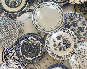 Blue White Dinner Plates Mismatched - Stripe Floral Spatter Asian Indigo Sky Ocean Blue - Priced Per! - Wedding Cottage Farmhouse Decor & Plates | Etsy