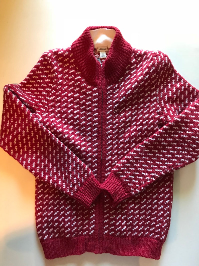 bc4a03cdf2d51f Norwegian Sweater LL Bean in Cherry Red w White Wool Nordic