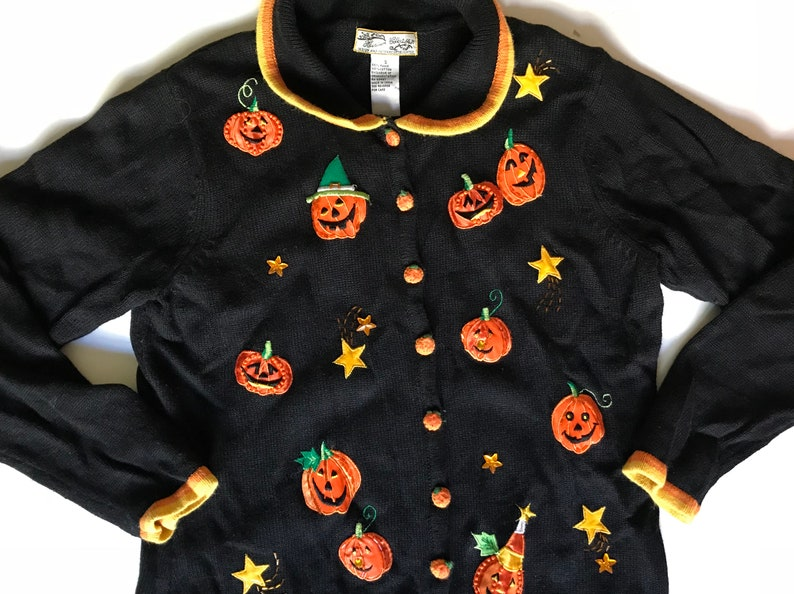 Fall Adorable Halloween Holiday Sweater w Texture /& Embroidery Charming Pumpkins Stars -Harvest Autumn Symbols in Vivid Oranges