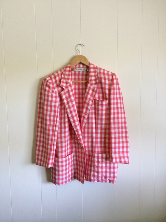 Pink Gingham Jacket - Darling!- in Coral Pink and