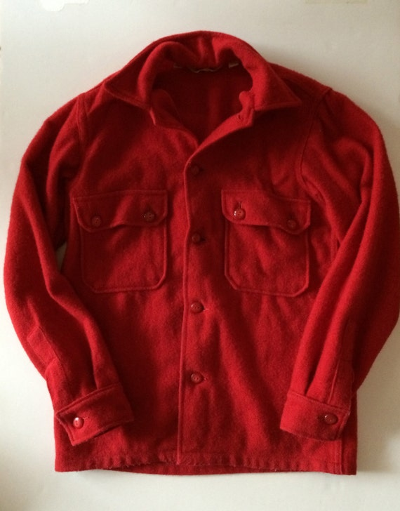 Vintage Boy Scout - Red Wool  Shirt Jacket - Hunti