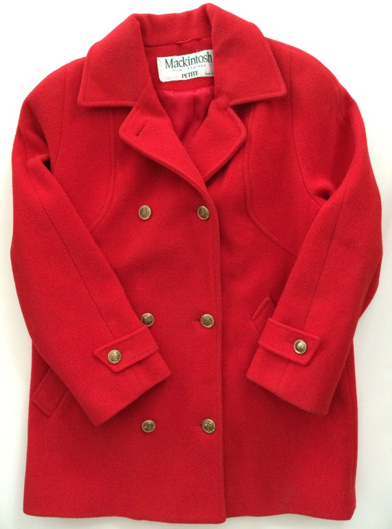 high quality diversified latest designs great discount for Mackintosh Peacoat - Cherry Red Wool - Double Breasted w Gold Buttons - USA  Made - Cool Preppy Coat