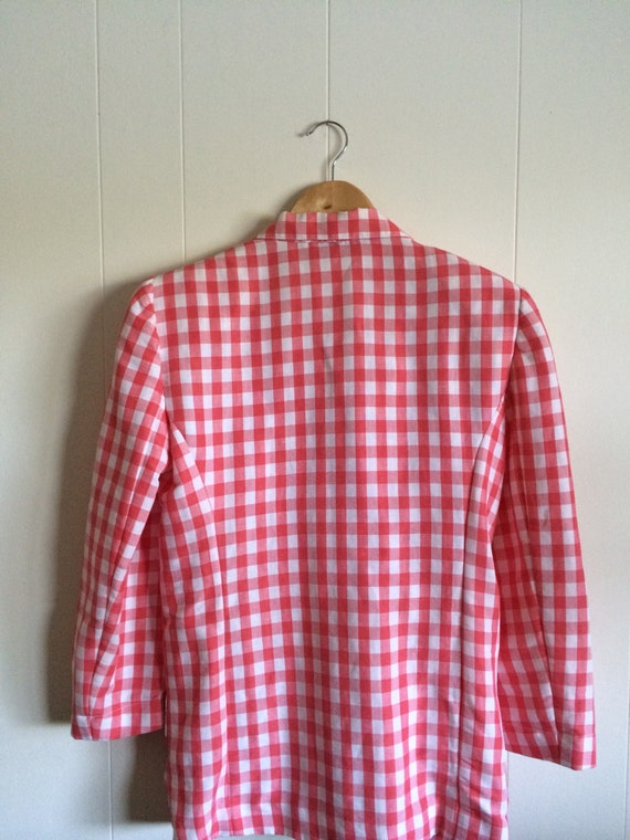 Pink Gingham Jacket - Darling!- in Coral Pink and… - image 4