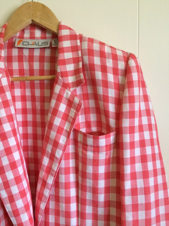 Pink Gingham Jacket - Darling!- in Coral Pink and… - image 5
