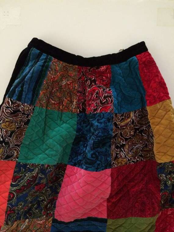 Patchwork Quilt Skirt - Velvet! - Stunning Quilte… - image 1
