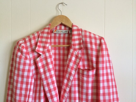 Pink Gingham Jacket - Darling!- in Coral Pink and… - image 2