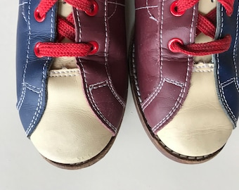Vintage Bowling Shoes - Red White Blue!!  -Great  Patina - Size 7 - Retro Sportswear