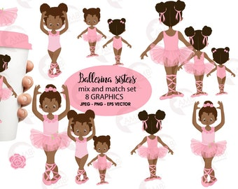 Ballerina sisters clipart, Ballet kids clipart, African American Ballet Clipart, Pink ballerina, Dark skin ballet dancers, AMB-2264