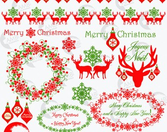 Christmas Clip Art Traditional Clipart Vintage Reindeer Old Fashioned Ornaments Decorations AMB 1125