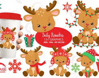Christmas Clipart Reindeer Baby Santas Rudolph Ornament Commercial Use AMB 2288