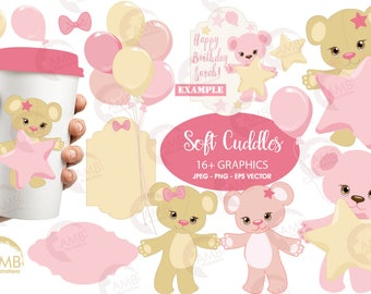 Baby Girl Clipart, Nursery, Birthday party, Baby Shower for a Girl, Teddy Bear Clipart, Commercial Use, Girl Clipart, AMB-1450