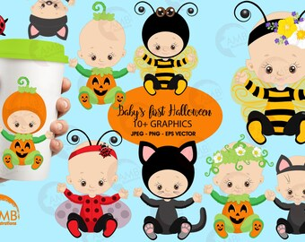 Halloween clipart, Baby's first halloween, Black cat clipart, pumpkin costume clipart, Bumble bee clipart, Commercial Use, AMB-2265