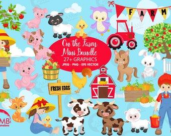 Farm clipart, farm animals clipart, farmer clipart, sheep clipart, barn clipart, red barn clipart, tractor clipart, AMB-1494