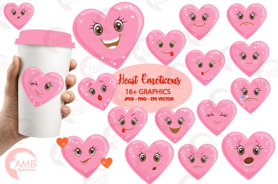 Valentine clipart, Heart face, Feelings Clipart, Emoji Clip