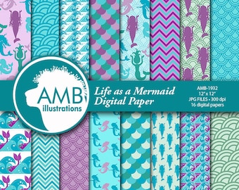 Mermaid Digital Papers,  Nautical Papers, Ocean papers, Mermaid papers, Mermaids, mermaid scales paper,  commercial use, AMB-1932
