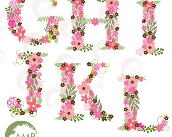 Floral Alphabet clipart, Alphabet clipart Letters G to L, Floral clipart, clipart, commercial use, digital clip art, AMB-1104B