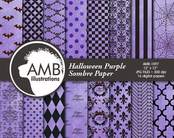 Halloween Digital Paper, Gothic Damask Paper in Purple, Grunge Halloween Pattern, Shabby Chic damask, Comm-use, AMB-1097