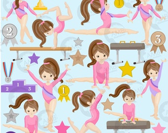 Gymnastic Girls clipart,  Gymnast mini bundle, Girl gym, Gymnast clipart, vector graphics, digital clip art, instant download, AMB-2136