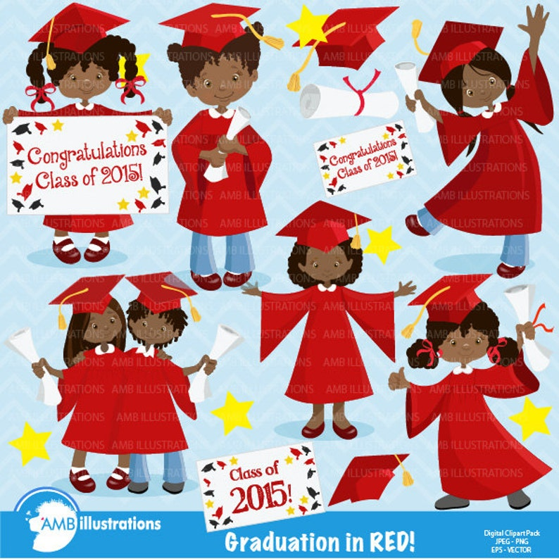 Graduation Girls in red clipart graduation girls African image 0