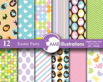 Easter paper, Easter digital paper, easter paper, easter bunny pattern, easter scrapbook papers, commercial use, AMB-391