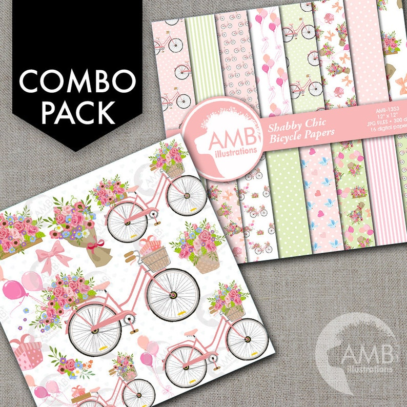 COMBO Bicycle Clipart and Digital Papers Pastel Floral image 1