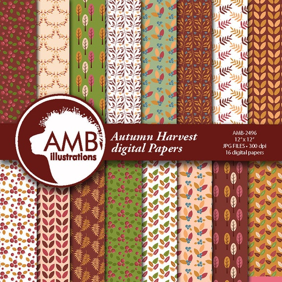 Rich Burgundy And Green Floral Digital Papers Spicy Autumn Florals Paper Floral Papers Fall Digital Papers Comm Use Amb 2496 By Ambillustrations Catch My Party