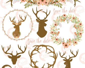 Rustic Wedding clipart, Floral Antlers, Antler and Floral Wedding Wreath, Floral Deer clipart, Antler clipart, AMB-1483