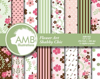 Shabby chic papers, Floral Digital Papers, floral backgrounds, Wedding paper, floral pattern, country chic, comm-use, AMB-852