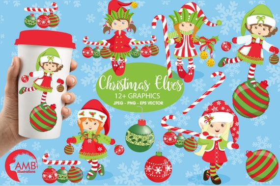 Christmas Eve Clipart.Christmas Elves Clipart Girl Elves Clipart Santa S Helpers Christmas Eve Clipart Commercial Use Instant Download Amb 195