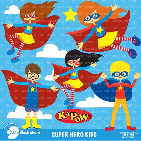 Download Free Superhero Clipart Girls And Boys Clipart Vector Graphics Etsy PSD Mockup Template