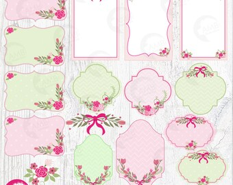 Floral Frames and Tags Clipart, Shabby Chic Wedding Frames Clipart, Floral Labels, Pink Roses Clipart, Commercial Use,  AMB-386