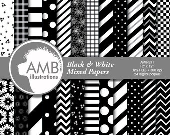 Black and White digital papers, Mixed Digital patterns, Checkers, polkadot, Stripes, Chevron, Backgrounds, Commercial use, AMB-531