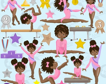 Gymnastic Girls clipart,  Gymnast mini bundle, African American Girl gym, Gymnast clipart, vector graphics, instant download, AMB-2139