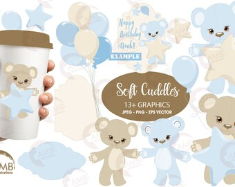 Baby Boy Clipart, Nursery clipart, Baby Shower Party, Teddy Bear, Baby Bear, Baby Shower, Commercial Use, AMB-1460