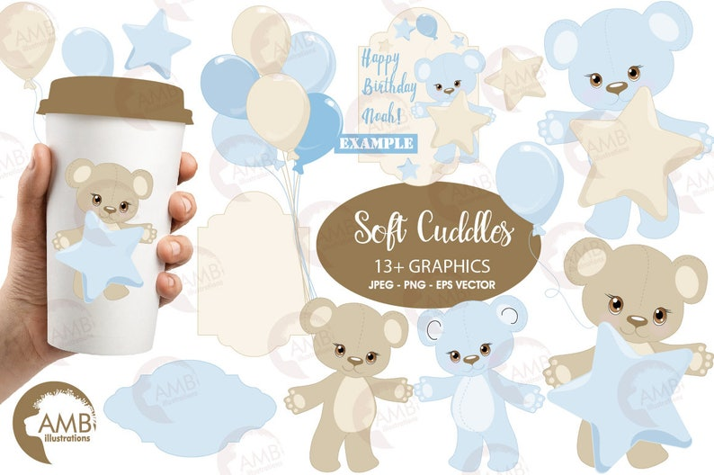 Baby Boy Clipart Nursery clipart Baby Shower Party Teddy image 0
