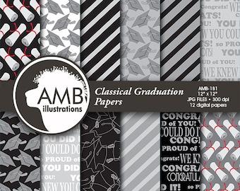 Graduation digital papers, Grad papers, Graduation scrapbook papers, commercial use, scrapbook, commercial-use, AMB-181