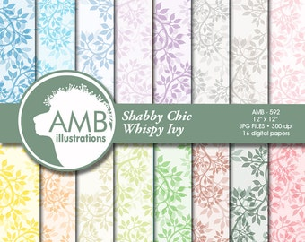 Floral Digital Paper, Ivy Pattern Digital Papers, leaves digital papers, damask papers, Commercial Use, AMB-592