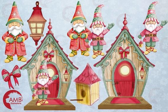 Christmas Gnomes Clipart.Christmas Gnomes Clipart Watercolor Gnome House Clipart Gnomes Clipart Christmas Elf Clipart Amb 1543