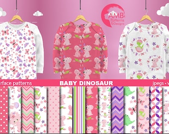 Dinosaur Papers, Baby dinosaur digital papers, Baby Dino Digital papers, dinosaur scrapbook papers, Commercial Use, AMB-2422