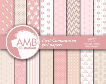 Christian Digital Papers, Girl First Communion Papers, Church Digital Paper,  Religious paper, Comm.Use, AMB-1919