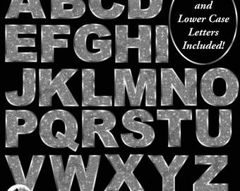 Silver Letter Clipart, Silver Glitter Alphabet Clipart, Bokeh Clip Art, Scrapbooking, Graduation Letters, Commercial Use, AMB-2231
