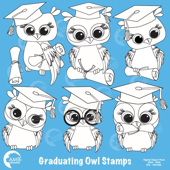 graduation owl clipart owl digital stamps coloring page etsy