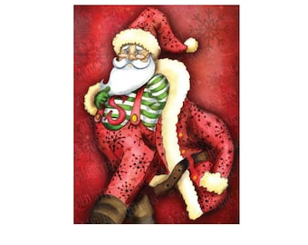 Christmas Card, Greeting Card, Printable Christmas cards DIY instant download - Super Santa!,  AMB-626