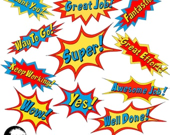 Superhero Letter clipart, Superhero Callouts Clipart, Word Bursts, Inspirational Words, School Clipart, Commercial Use, AMB-2018